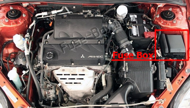 The location of the fuses in the engine compartment: Mitsubishi Eclipse (4G; 2006-2012)