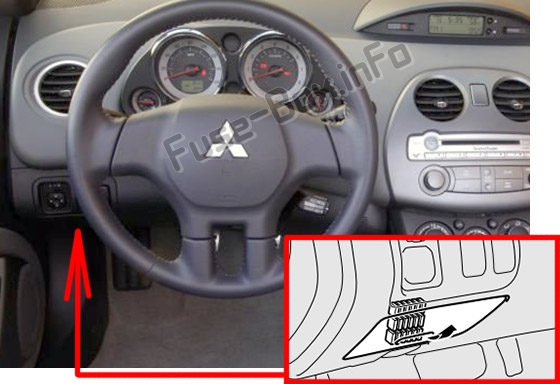 The location of the fuses in the passenger compartment: Mitsubishi Eclipse (4G; 2006-2012)