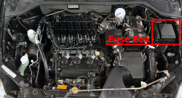 the location of the fuses in the engine compartment: mitsubishi endeavor  (2004-2011