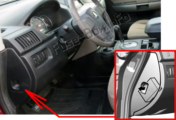 the location of the fuses in the passenger compartment: mitsubishi  endeavor (2004-2011