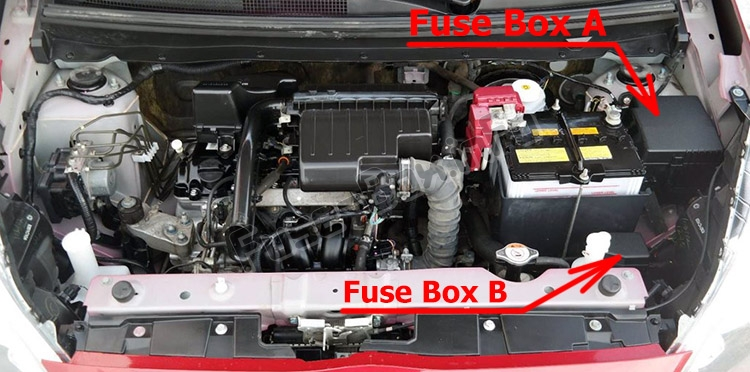 The location of the fuses in the engine compartment: Mitsubishi Mirage (2014-2018)
