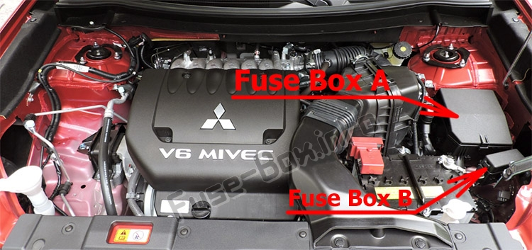 The location of the fuses in the engine compartment: Mitsubishi Outlander (2014-2019..)