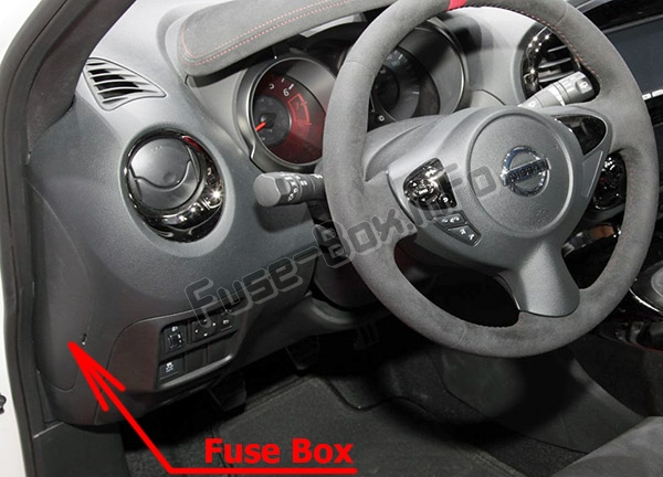 The location of the fuses in the passenger compartment: Nissan Juke (F15; 2011-2017)