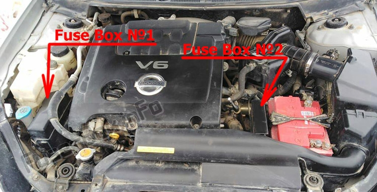 The location of the fuses in the engine compartment: Nissan Teana (J31; 2003-2008)