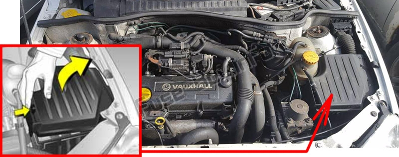 The location of the fuses in the engine compartment: Opel / Vauxhall Combo C (2001-2011)