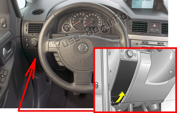 The location of the fuses in the passenger compartment: Opel / Vauxhall Meriva A (2003-2010)