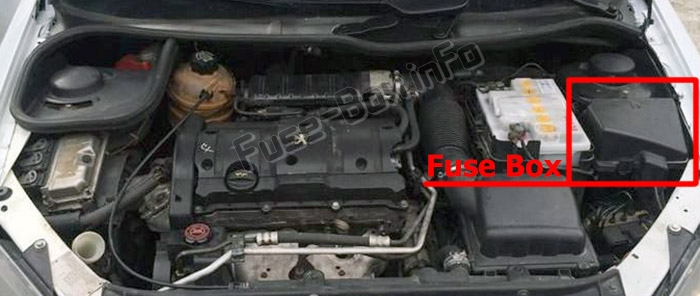 The location of the fuses in the engine compartment: Peugeot 206 (1999-2008)