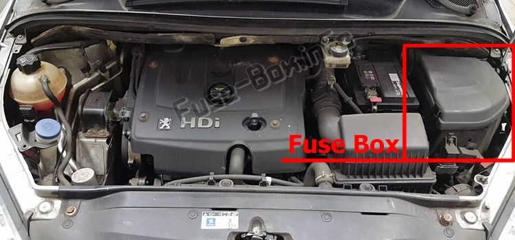 The location of the fuses in the engine compartment: Peugeot 307 (2002-2008)