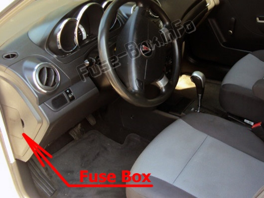 The location of the fuses in the passenger compartment: Pontiac G3 (2009-2010)