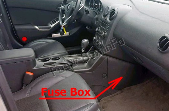 panel the location of the fuses in the passenger compartment: pontiac  g6 (2005-2010