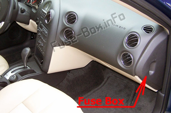 the location of the fuses in the passenger compartment: pontiac grand  prix (2004-
