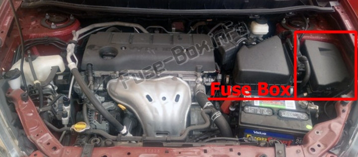 The location of the fuses in the engine compartment: Pontiac Vibe (2009-2010)