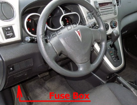 The location of the fuses in the passenger compartment: Pontiac Vibe (2009-2010)