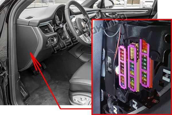 The location of the fuses in the passenger compartment: Porsche Macan (2014-2018)