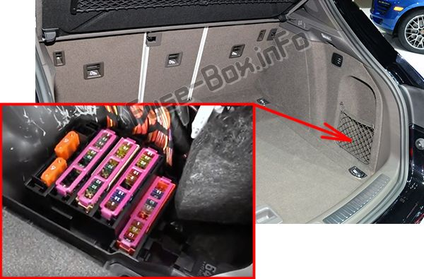 The location of the fuses in the luggage compartment: Porsche Macan (2014-2018)