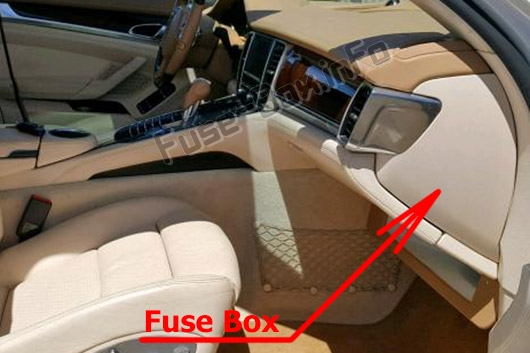 The location of the fuses in the passenger compartment: Porsche Panamera (2010-2016)
