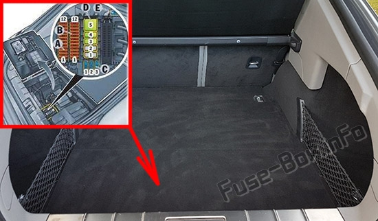 The location of the fuses in the trunk: Porsche Panamera (2010-2016)