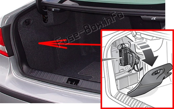 The location of the fuses in the luggage compartment: Saab 9-3 (2003-2014)