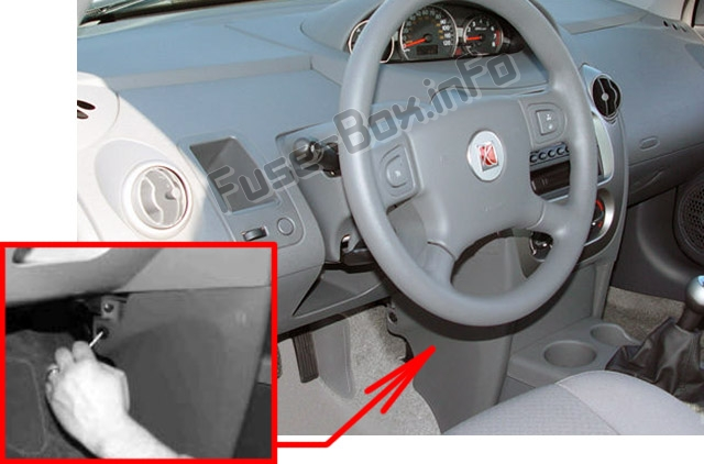 the location of the fuses in the passenger compartment: saturn ion (2003 -2007