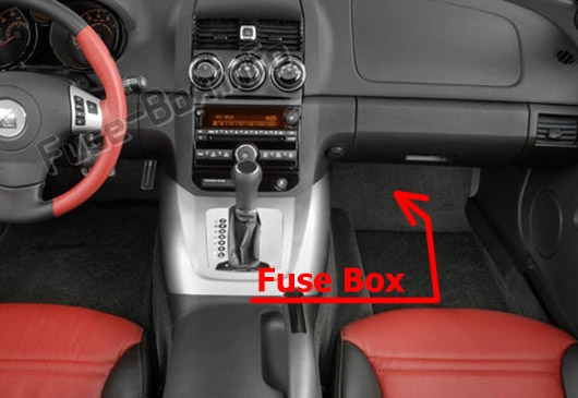 The location of the fuses in the passenger compartment: Saturn Sky (2006-2010)