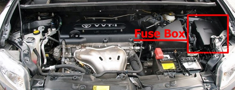 The location of the fuses in the engine compartment: Scion xB (2007-2015)