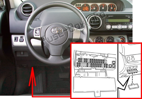 the location of the fuses in the passenger compartment: scion xb (2007 -2015
