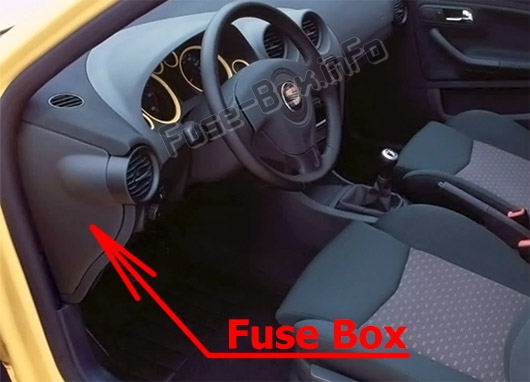 The location of the fuses in the passenger compartment: Seat Ibiza (Mk3/6L; 2002-2007)