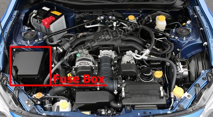 La ubicación de los fusibles en el compartimiento del motor: Subaru BRZ (2013-2019)