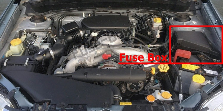 The location of the fuses in the engine compartment: Subaru Forester (SH; 2008-2012)