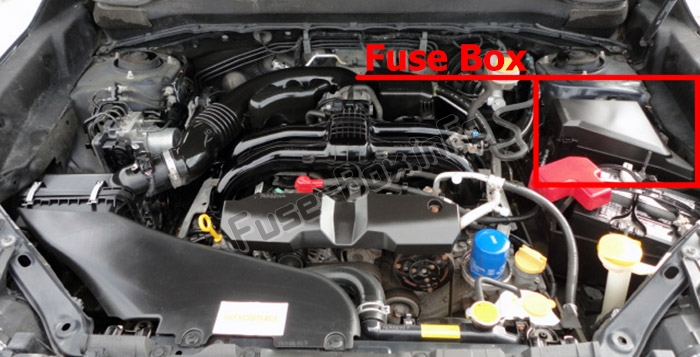 The location of the fuses in the engine compartment: Subaru Forester (SJ; 2013-2018)