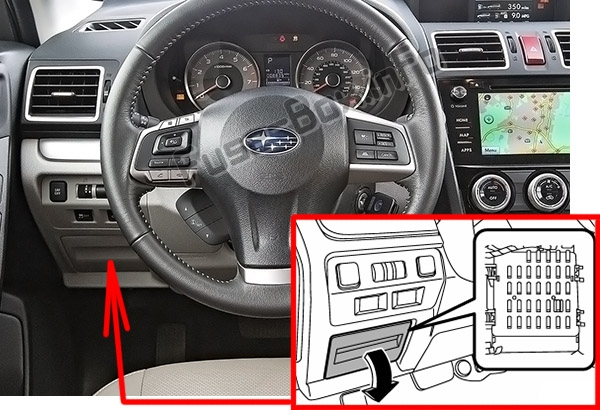 The location of the fuses in the passenger compartment: Subaru Forester (SJ; 2013-2018)