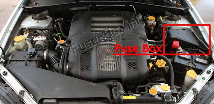 The location of the fuses in the engine compartment: Subaru Outback (2005-2009)