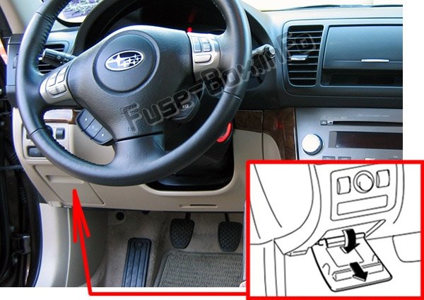 The location of the fuses in the passenger compartment: Subaru Legacy (2005-2009)
