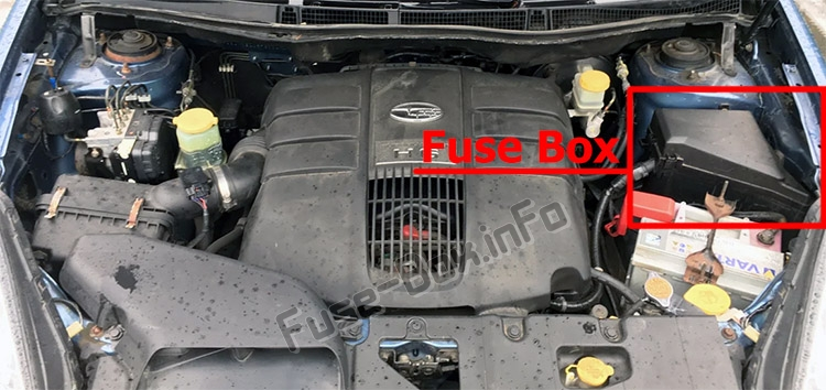 The location of the fuses in the engine compartment: Subaru Tribeca (2008-2014)
