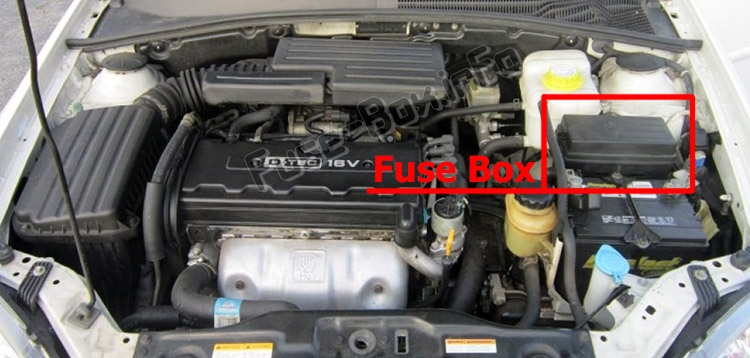 The location of the fuses in the engine compartment: Suzuki Forenza / Reno (2003-2009)