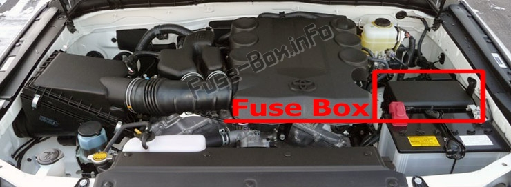 The location of the fuses in the engine compartment: Toyota 4Runner (N280; 2010-2017)