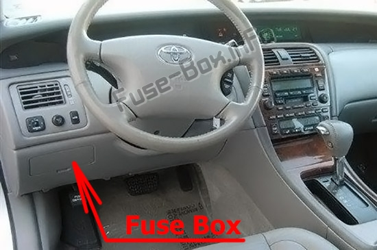 The location of the fuses in the passenger compartment: Toyota Avalon (XX20; 2000-2004)