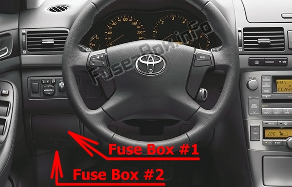 The location of the fuses in the passenger compartment: Toyota Avensis (T250; 2003-2009)