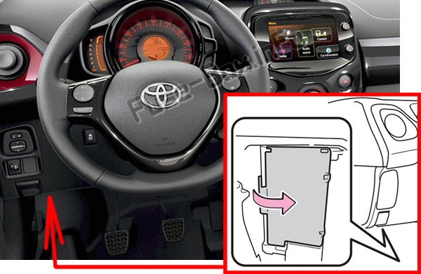 The location of the fuses in the passenger compartment: Toyota Aygo (AB40; 2014-2019-.)