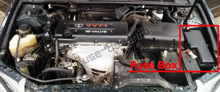 The location of the fuses in the engine compartment: Toyota Camry (XV30; 2002-2006)