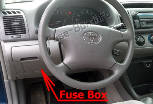 The location of the fuses in the passenger compartment: Toyota Camry (XV30; 2002-2006)