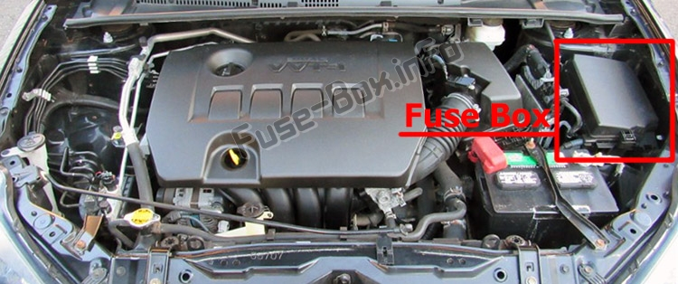 The location of the fuses in the engine compartment: Toyota Corolla / Auris (E160/E170/E180; 2013-2018)