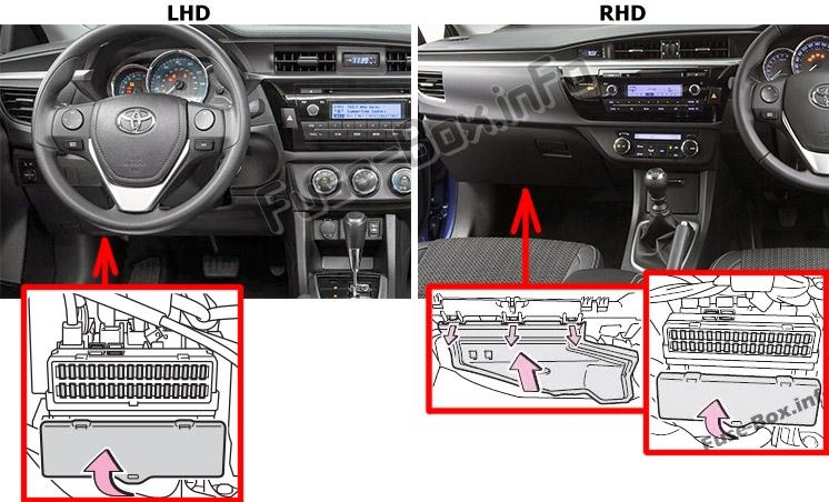The location of the fuses in the passenger compartment: Toyota Corolla / Auris (E160/E170/E180; 2013-2018)