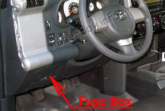 The location of the fuses in the passenger compartment: Toyota FJ Cruiser (2006-2017)