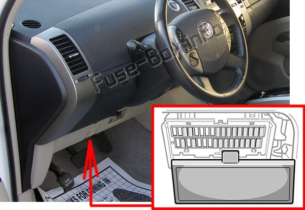 The location of the fuses in the passenger compartment: Toyota Prius (XW20; 2004-2009)
