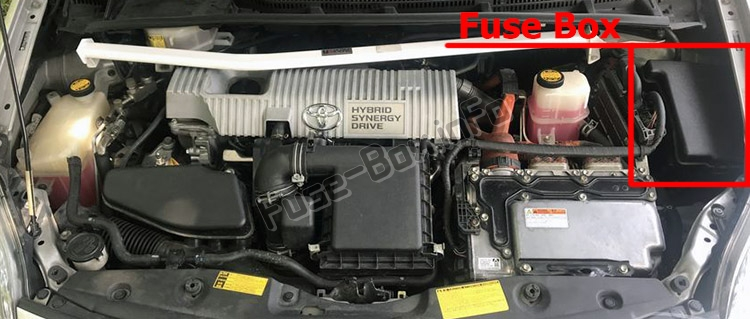 The location of the fuses in the engine compartment: Toyota Prius (XW30; 2010-2015)