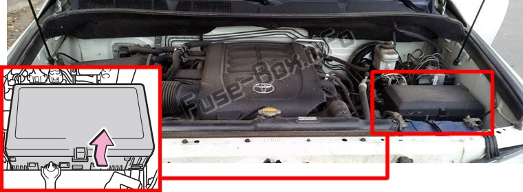 The location of the fuses in the engine compartment: Toyota Sequoia (2008-2017)