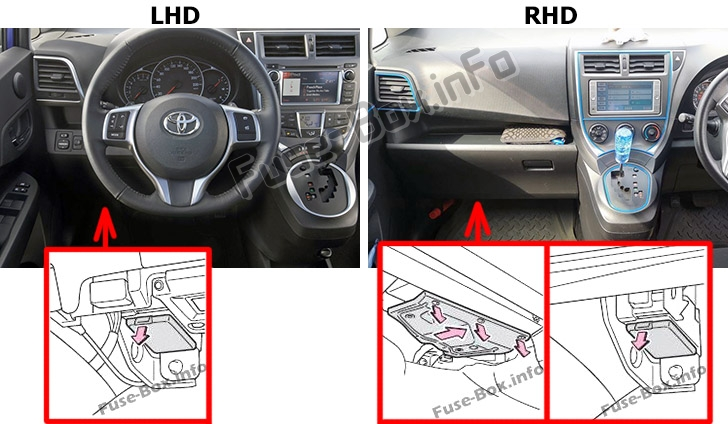 The location of the fuses in the passenger compartment: Toyota Verso-S / Racis (NCP120; 2010-2017)