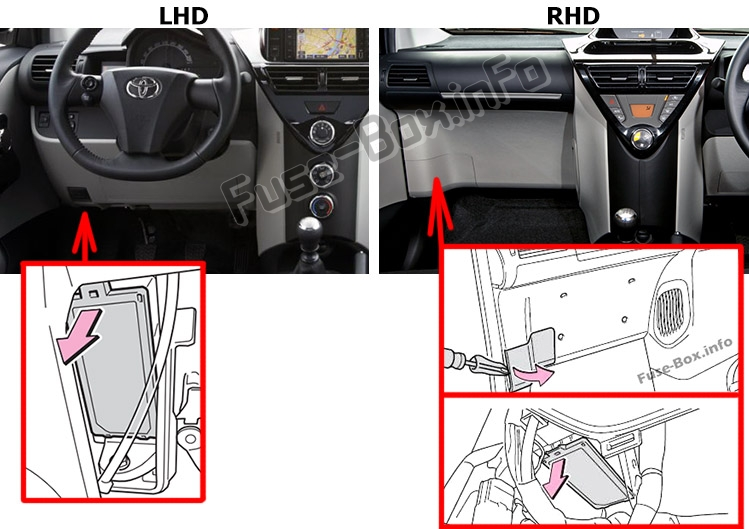 The location of the fuses in the passenger compartment: Toyota iQ / Scion iQ (2008-2015)