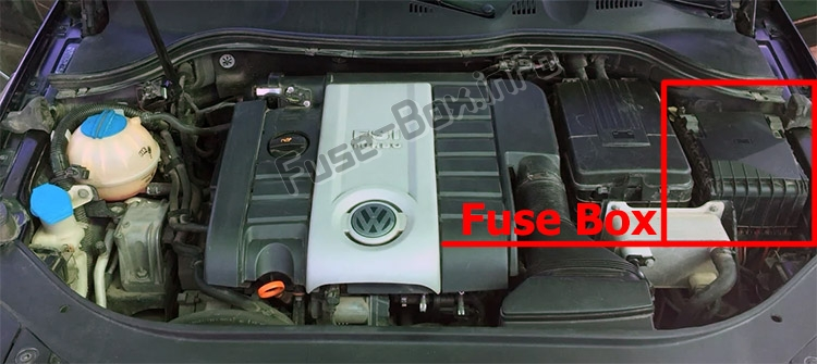 The location of the fuses in the engine compartment: Volkswagen Passat B6 (2006-2010)